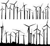 风力涡轮机 | 向量插图