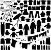 ランドリーオブジェクトの黒と白のシルエット | Stock Illustration