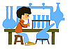 Vector clipart: boy in chemical laboratory