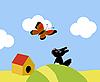 Векторный клипарт: маленькая собачка и бабочка