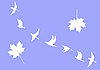 Vector clipart:  silhouettes of the cranes and maple leaves on blue