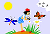 Vector clipart: girl with camera on meadow