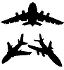 Vector clipart: silhouettes of air planes