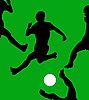 Vector clipart:  game of football on green field