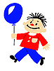 Vector clipart:  portrait of the boy with ball