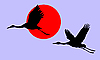of the cranes in sky on red sun