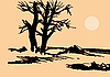 Vector clipart:  old tree on sun