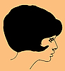 Vector clipart:  portrait of the young girl on brown