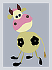 Vector clipart:  portrait of the cow on gray