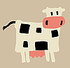 Vector clipart:  of the cow on yellow
