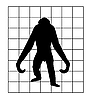 Vector clipart:  silhouette of the gorilla in hutch