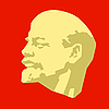 silhouette of Lenin on red