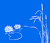 Vector clipart: water lily and reed on blue.