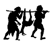 Vector clipart: silhouette of the primitive people