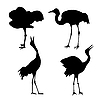 Vector clipart:  silhouette of the cranes