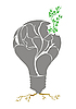 Vector clipart: plant in light bulb.