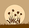 Vector clipart:  silhouette tulip on sun