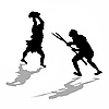 Vector clipart: silhouette two fightings primitive persons