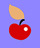 Vector clipart:  apple on blue