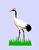 Vector clipart:  drawing of the crane on turn blue