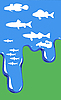 Vector clipart:  of fish in water on green
