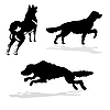 Vector clipart:  silhouette hunt dogs