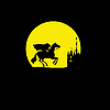 Vector clipart:  silhouette of the rider without head on yellow