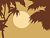 Vector clipart:  tropical landscape with palm on foregrounds