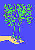 Vector clipart:  drawing of the hand holding tree