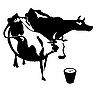 Vector clipart:  silhouette two cows