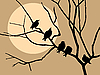 Vector clipart:  migrating starling on branch tree