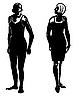 Vector clipart:  silhouette two girls