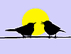 Vector clipart:  drawing two birds sitting on branch on sun
