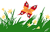 Vector clipart:  of the butterfly amongst flower