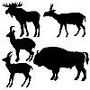 Vector clipart: silhouettes of wild animals