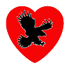 Vector clipart: of the ravenous bird inwardly heart