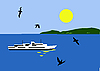 Vector clipart:  of the sailboat seaborne