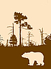 Vector clipart:  silhouette bear on wild wood
