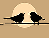Vector clipart:  silhouette two birds on sun