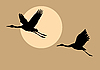 Vector clipart:  silhouettes flying cranes on sun