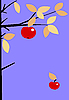 Vector clipart:  apple on branch of the aple trees