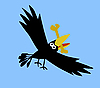 Vector clipart:  drawing ravens on blue