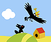 Vector clipart:  of the small dog and crow