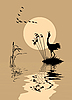 Vector clipart:  silhouette of the birds on lake