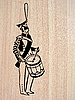 Vector clipart:  of the drummer on wood