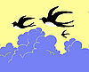 Vector clipart:  drawing swallow flying to cloudy sky
