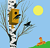 Vector clipart:  starling on tree