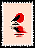 Vector clipart: silhouette of the bird on postage stamp