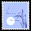 Vector clipart: silhouette of the birds on postage stamp