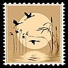 Vector clipart: silhouette flying birds on postage stamp